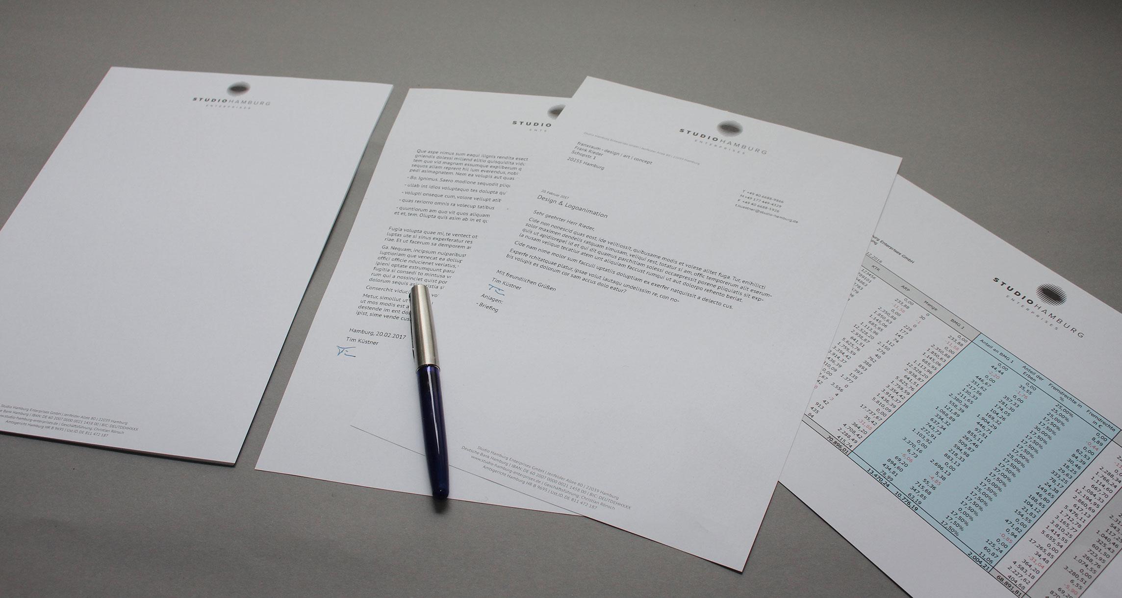 Geschäftsausstattung Studio Hamburg Enterprises: Briefpapier